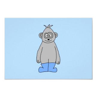 """Gorila en botas azules invitación 3.5"""" x 5"""""""