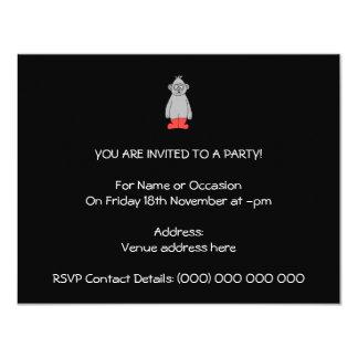 """Gorila en botas rojas invitación 4.25"""" x 5.5"""""""