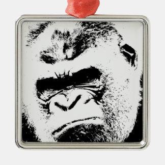 Gorila enojado adorno navideño cuadrado de metal