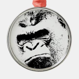 Gorila enojado adorno navideño redondo de metal