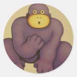 gorila etiqueta redonda