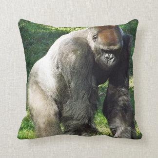 Gorila masculino de la tierra baja del Silverback  Cojin