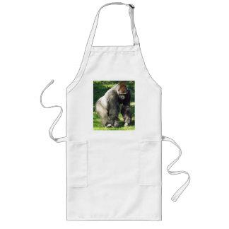 Gorila masculino de la tierra baja del Silverback  Delantal Largo