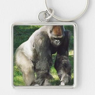 Gorila masculino de la tierra baja del Silverback Llavero Personalizado