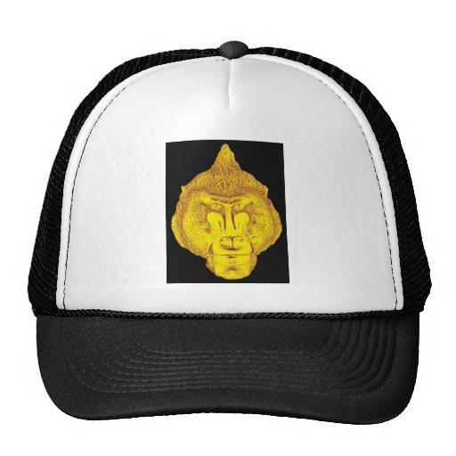 Gorila o mono, cierre encima de la cara, amarilla gorras de camionero