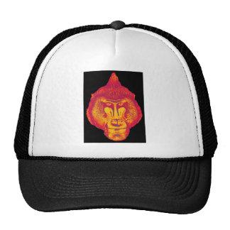 Gorila o mono cierre encima de la cara rojo y am gorras de camionero