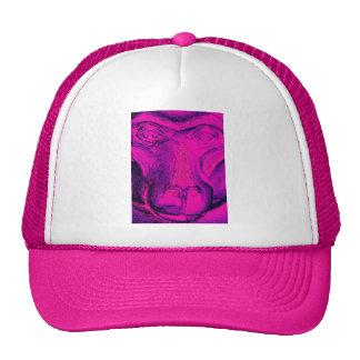 Gorila o mono cierre encima de la cara rosada gorras de camionero