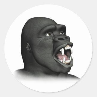 Gorila que gruñe pegatina redonda