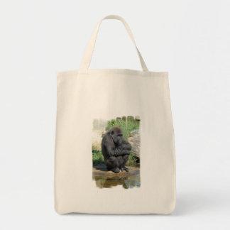 Gorila Sitting Grocery Tote Bag