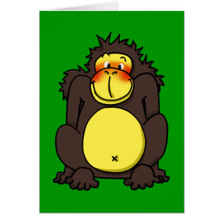 Gorila tímido divertido tarjetón