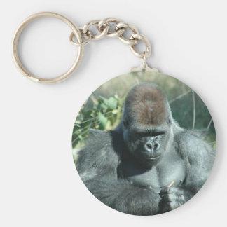 Gorila trasero de la plata llavero redondo tipo pin