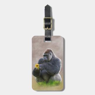 Gorila y margarita amarilla etiqueta de equipaje