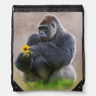 Gorila y margarita amarilla mochilas