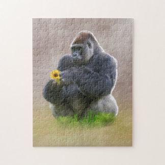 Gorila y margarita amarilla rompecabezas con fotos