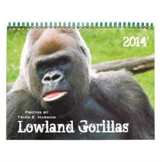 Gorilas de la tierra baja del parque zoológico de  calendarios de pared