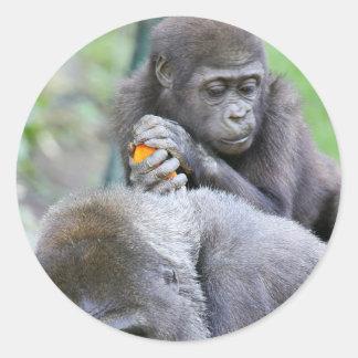 Gorilla and Baby Classic Round Sticker
