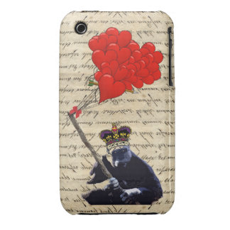 Gorilla and heart balloons iPhone 3 case