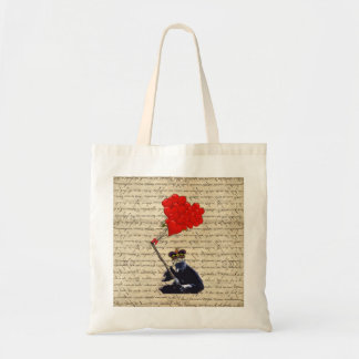 Gorilla and heart balloons tote bag