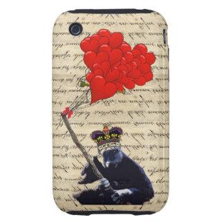 Gorilla and heart balloons tough iPhone 3 case