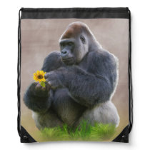 Gorilla and Yellow Daisy Drawstring Bag