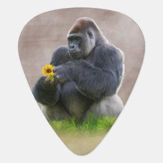 Gorilla and Yellow Daisy Guitar Pick