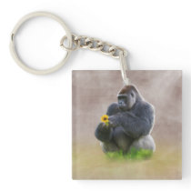 Gorilla and Yellow Daisy Keychain