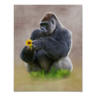 Gorilla and Yellow Daisy Poster