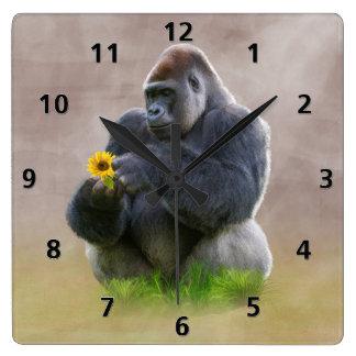 Gorilla and Yellow Daisy Square Wall Clock