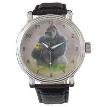 Gorilla and Yellow Daisy Wristwatch