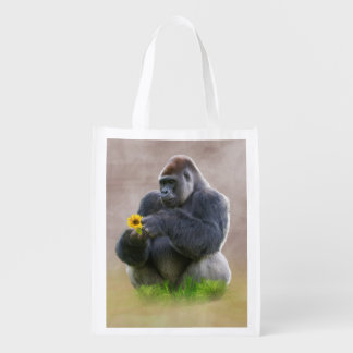 Gorilla and Yellow Daisy Grocery Bag