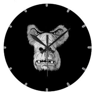 gorilla ape chimp  clock black and white