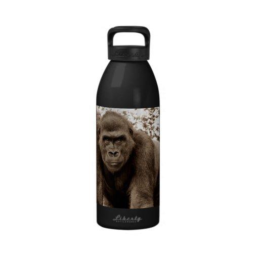 Gorilla Ape Primate Wildlife Animal Photo Water Bottles