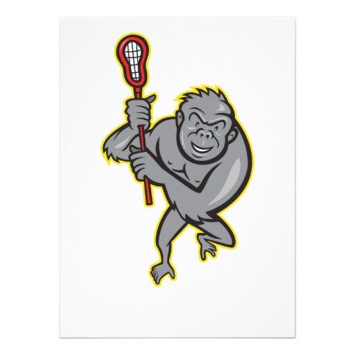 Gorilla Ape With Lacrosse Stick Cartoon Invitation