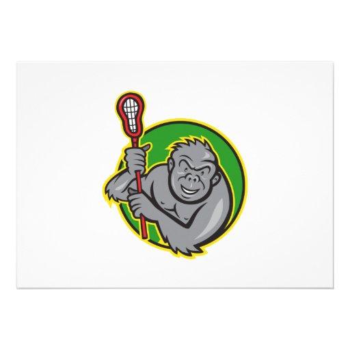 Gorilla Ape With Lacrosse Stick Cartoon Custom Invite
