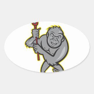 Gorilla Ape With Lacrosse Stick Cartoon Stickers