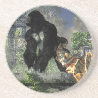 Gorilla Babysitter Sandstone Coaster