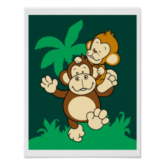 Gorilla carrying baby monkey Poster
