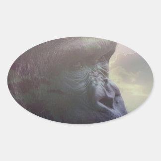 Gorilla Daydream Oval Stickers