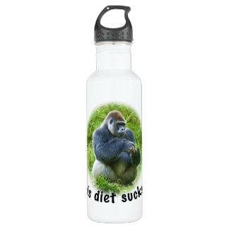 """Gorilla """"Diet Sucks"""" Stainless Steel Water Bottle"""