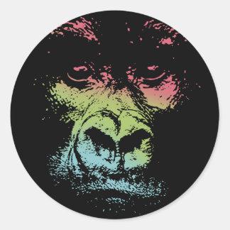 Gorilla Face -color Classic Round Sticker