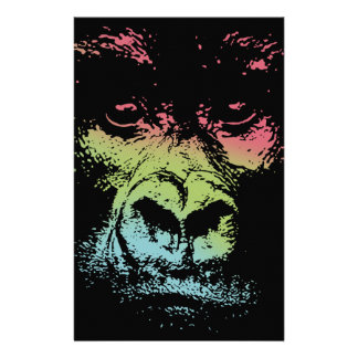 Gorilla Face -color Stationery