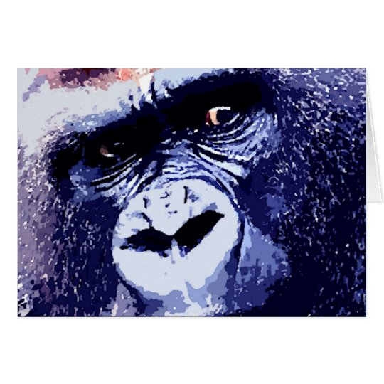 Gorilla Face Pop Art Card