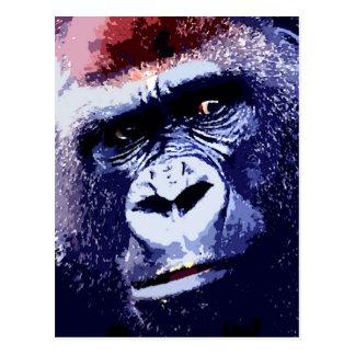 Gorilla Face Pop Art Postcard