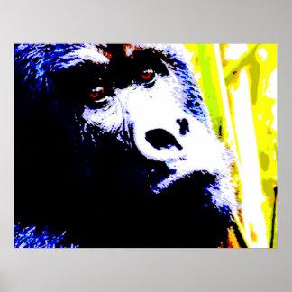 Gorilla Face Pop Art Poster Print - Gorilla Poster