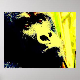 Gorilla Face Pop Art Poster Print Gorilla Posters