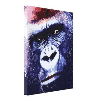 Gorilla Face Pop Art Wrapped Canvas Canvas Print