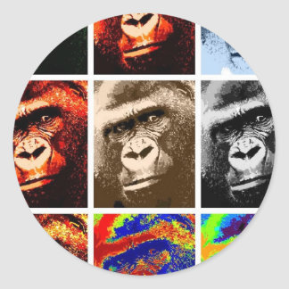 Gorilla Faces Classic Round Sticker