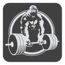 Gorilla Fitness Beast Mode Lifting Crossfit Square Sticker