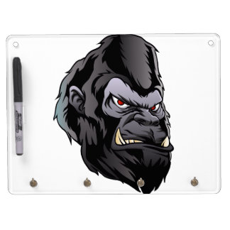 gorilla head illustration dry erase board with keychain holder