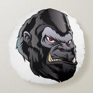 gorilla head illustration round pillow